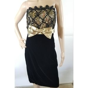 VTG Dave & Johnny Sweetheart Gold Party Dress